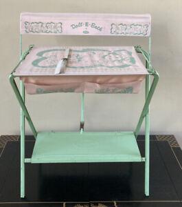 Rare VTG 1950's Amsco Doll-E-Bath Metal Doll Bathtub Green Pink Antique