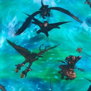 """How To Train Your Dragon blue green Cotton Jersey knit stretch fabric 150cm 60"""""""