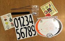 Mongoose Bmx Bike Racing Plate Number Set Sticker Maurice Valve Caps Tattoos NEW