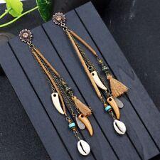 Bohemian Vintage Long Leather Tassel Fringe Boho Dangle Earrings Women Jewelry
