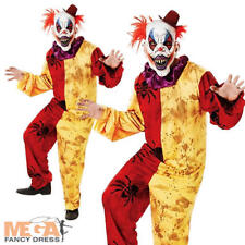 Horror Clown + Mask Halloween Fancy Dress Adults Circus Carnival Mens Costume