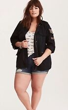 Torrid Size 00 Beaded Military Shirt Jacket Full Zip EUC Black Sold Out Thick