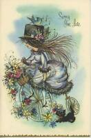 VINTAGE GOTHIC GIRL BLACK CAT HAT BLUEBIRD BIRD TRICYCLE GREETING CARD ART PRINT