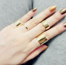 New Fashion Punk Gold Plated Metal Smooth Joint Set Of Four Knuckled Rings