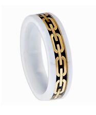 Keramik Wolfram Carbid Ring vergoldete Einlage Tungsten Ring Weiß
