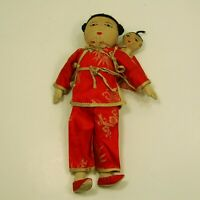 """Vintage all Cloth Asian Mama Doll w/ Baby Embroidered Faces 11"""" tall"""
