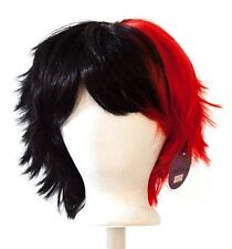 13'' Short Messy Spiky Split Natural Black and Scarlet Red Wig Cosplay NEW
