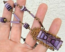 Vintage 1920's Purple Czechoslovakian Art Glass Necklace - Art Deco STEP DESIGN