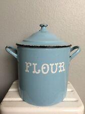 Antique Vtg BLUE Enamelware FLOUR BIN graniteware Primitive Kitchen OLD CANISTER