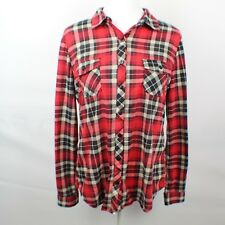 Love Potion Womens Size M Flannel Shirt Long Sleeve Red Blk Wh Plaid 2 Pockets