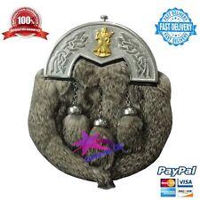 Men's Kilt Sporran Grey Rabbit Fur Celtic Cantle/Highland Kilt Sporran/kilt