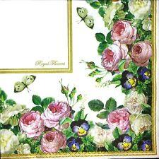 3 x Single Paper Napkins For Decoupage Craft Rose Iris Pansy Flowers Border M392