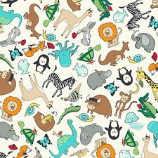 Fabric Zoo Animals Cartoon Tossed on White Flannel 1 Yard S