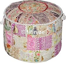 """22""""Vintage Set 2 Embroidered Moroccan Pouffe Cover Patchwork Ottoman Footstool"""