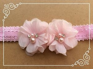 Twin Pastel Pink Flower Headband for baby / toddler / girl