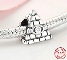 ❤ Pyramid Egypt Eye Genuine 925 Sterling Silver Charm Bead Fit Bracelet Gift ❤