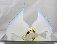Pair of Antique Art Deco Flaired Frosted Glass Lamp Shades w/ Brass Fitters