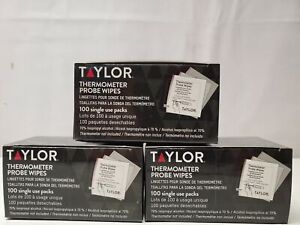 Taylor Thermometer Probe Wipes 3 Boxes 100 Single Use Packs (300 Total) New