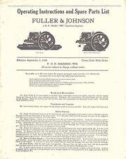 """F & J 2 HP Model """"NB"""" Engine Instructions sheet 1930 (spoke flywheel) reprint"""