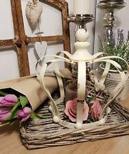 Deko Landhaus Krone antik weiß Shabby Windlicht Kerzenhalter Metall Vintage neu