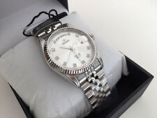 """Orient President """"Oyster"""" Classic Silver White Dial Auto. Sapphire Watch Japan"""