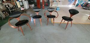 Four vintage Norman Cherner Mid Century Cherner Plycraft Walnut Side & Arm Chair