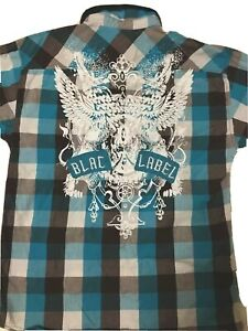 Blac Label Men's MultiColor Button Up Pearl Snap Shirt Graphic Size M -VERY GOOD