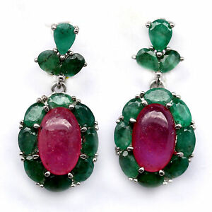 NATURAL 7 X 12 mm. PINK RED RUBY & GREEN EMERALD 925 STERLING SILVER EARRINGS