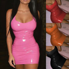 Womens PU Leather Bandage Bodycon Sleeveless Party Slim Mini Dress Clubwear Sexy