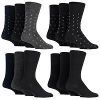 Gentle Grip - 3 Pack Mens Non Binding / Elastic Loose Top Wool Crew Dress Socks