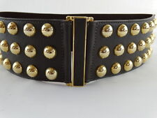 "NEW !  BRAVE~BELTWORKS~BROWN LEATHER~GOLD NAILHEAD - BELT 3"" W x 28"" L - Size 28"