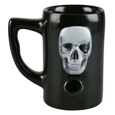 Black Skull Ceramic Water Pipe Coffee Mug // 8oz Coffee Cup // 420 Wake and Bake