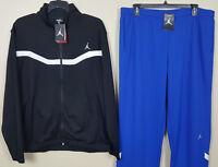 NIKE JORDAN DRI-FIT BASKETBALL SUIT JACKET + PANTS BLACK BLUE NEW (SIZE 2XL 3XL)