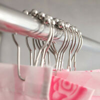 Stainless Steel Shower Curtain Rings Hooks 12 Set of Bathroom Poles Rod Lp