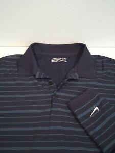 Nike Men's Golf Shirt Size XL Striped Navy Blue Moisture Wicking Top Extra Large