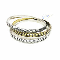 NWT $45 Lucky Brand Gold and Silver Two Tone Etched 3 Bangle Bracelet Set
