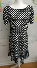 Next Black & White Polka Dot Knee Length Dress UK Size 10