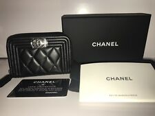 CHANEL Boy Chanel Zipped Coin Purse Lambskin Black Silver Metal Hardware NEW