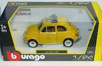 Burago 1/24 Scale - Fiat 500L 1968 Yellow Diecast model car 22099Y
