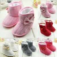 Toddler Baby Girl Knit Woolen Snow Boots Bowknot Soft Sole Fleece Crib Shoes A25