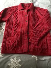 Ladies Aran Cardigan Dark Red. Handmade,  New Size 18/20