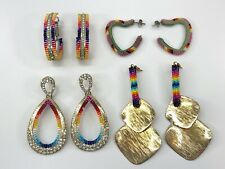 4 Native Canadian Beaded Powwow Regalia Earrings Rainbow Colours Dangle & Hoop