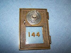ANTIQUE  VINTAGE  POST  OFFICE  BOX  DOOR  BANK PAT 1896  DIAL POINTER