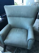 Gray Leather High Back Chair