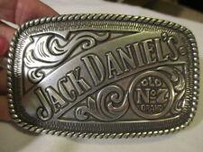 """JACK DANIEL'S Vintage """"Old No 7 Brand"""" Silvertone Raised Metal Belt Buckle 2005"""