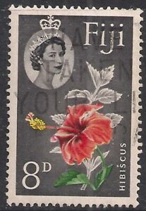 Fiji 1959 - 63 QE2 8d Hibiscus Flower used SG 304 ( D19 )