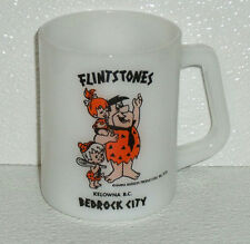 Flintstones Mug Cup Milk Glass Vtg 1973 Bedrock City Pebbles Bambam 3.5""