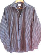 VAN HEUSEN mens dress shirt M MEDIUM striped black 15 1/2 34/35 cotton button up