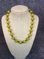 Beautiful Vtg Italian murano Yellow Copper foil art glass necklace
