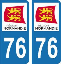 Département 76 - 2 autocollants style immatriculation AUTO PLAQUE NORMANDIE 2018